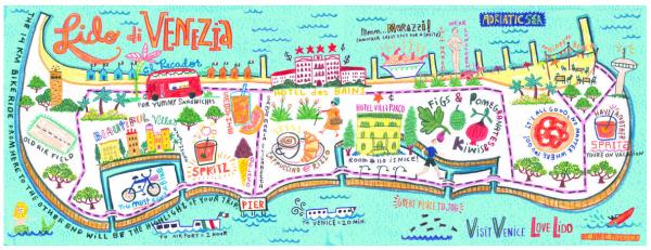 mapa ilustrado de Veneza