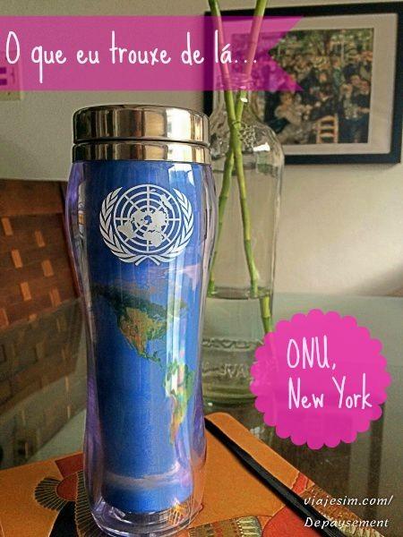 lembrança de viagem ONU Nova York copo café
