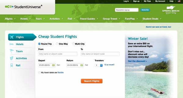 site Student Universe passagens mais baratas para estudantes
