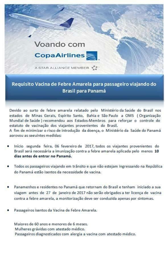copa airlines vacina febre amarela