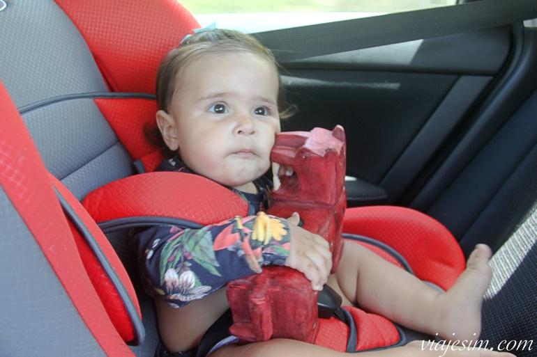 Bebê usando cadeirinha de segurança do carro em viagem no México